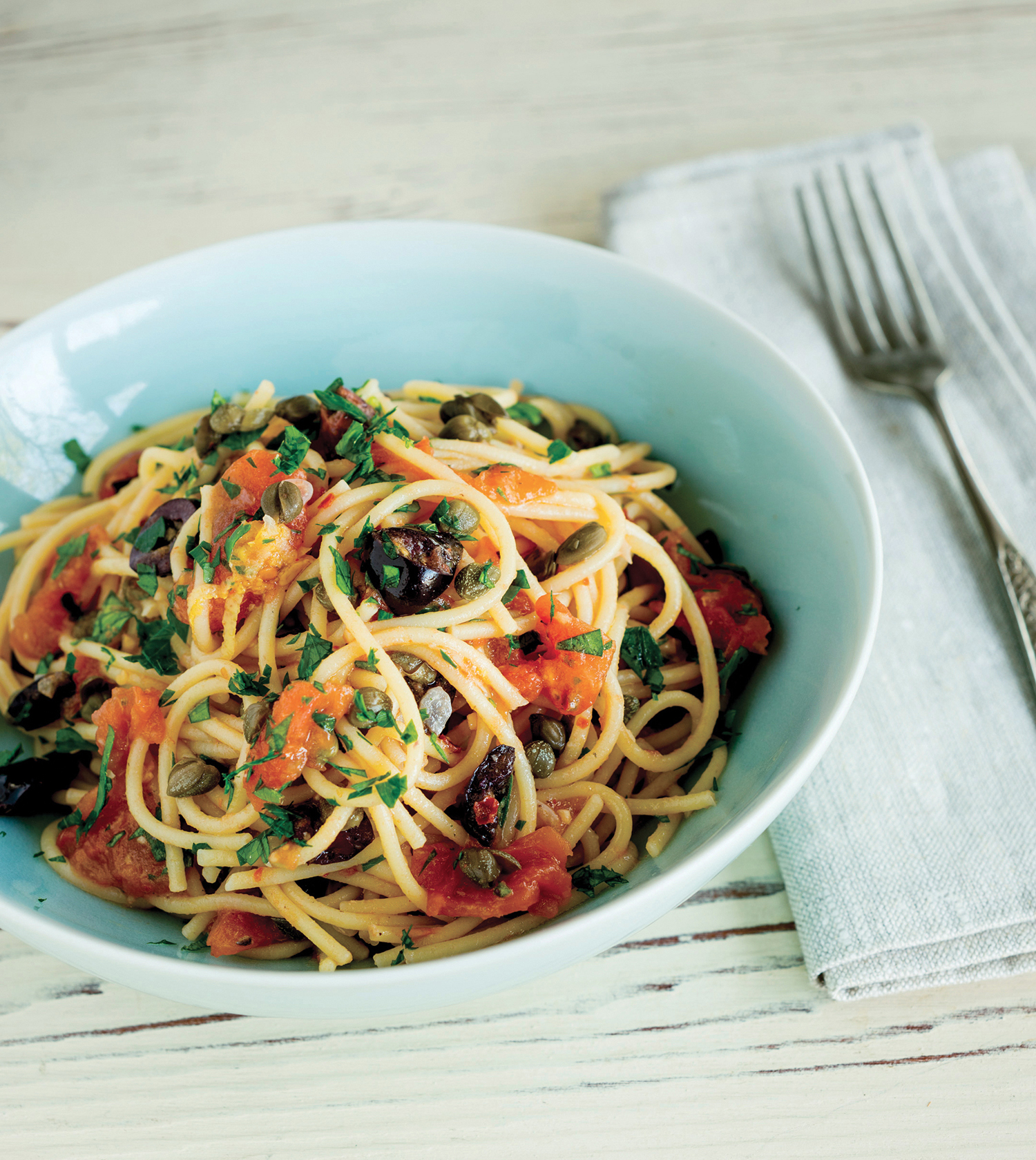 Spaghetti Puttanesca with Capers